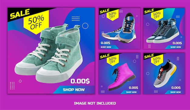 Templates about discount shoe sales with various types of shoes