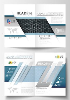 Templates for bi fold brochure, magazine, flyer or report. cover design template, easy editable vector layout in a4 size. chemistry pattern, hexagonal molecule structure. medicine and science concept