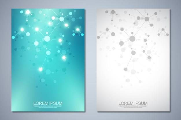 テンプレートのパンフレットまたは表紙、ページレイアウト、分子構造とdna鎖の抽象的な背景を持つチラシデザイン。イノベーション技術、医学研究、科学の概念とアイデア。