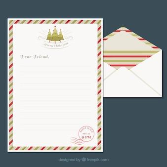 Modelli di una lettera di natale e di una busta con un telaio a righe