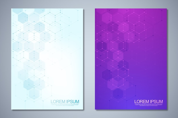 Templates for cover or brochure with abstract hexagons pattern.