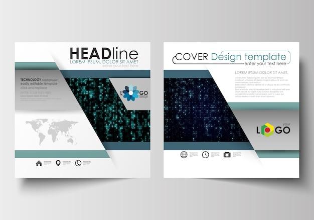 スクエアデザインパンフレット、雑誌、チラシのテンプレート。リーフレットカバー。バーチャルリアリティ