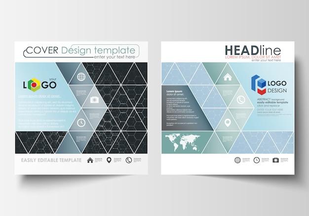 正方形デザインパンフレット、雑誌、チラシ、レポート用のテンプレート。リーフレットの表紙、簡単に編集可能なベクターレイアウト。