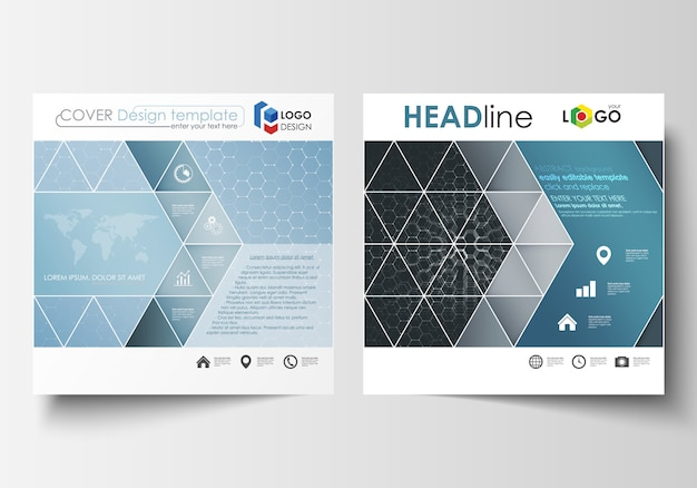 正方形デザインパンフレット、雑誌、チラシ、レポート用のテンプレート。