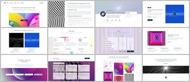 ウェブサイトのデザインと活気に満ちたカラフルな抽象的なグラデーションの背景を持つポートフォリオのテンプレート