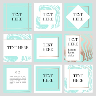 Templates frame square fluide art gold fashion