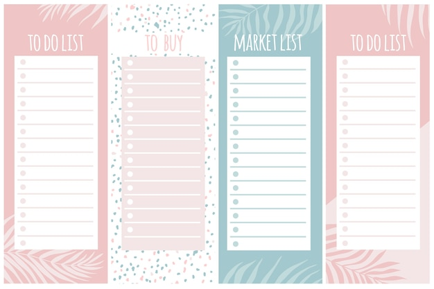 Templates for notes, to do and buy lists. organizer, planner, schedule for your design. abstract background in trendy modern hand-drawn style. pastel palette.