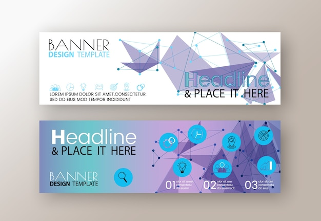 Templates of purple flyer modern design web banners