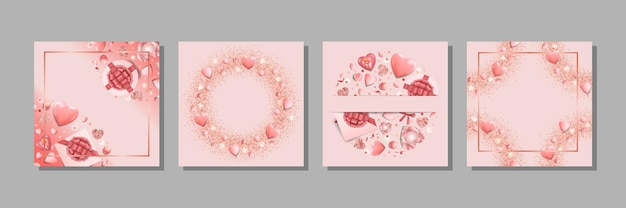 Templates set for valentines day greeting and birthday card wedding invitation with text place