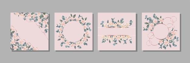 유칼립투스와 꽃으로 설정된 템플릿 인사말 카드 및 표지