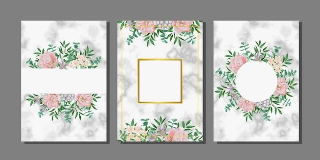 Набор шаблонов с цветами и белым мрамором для поздравительных открыток и обложек