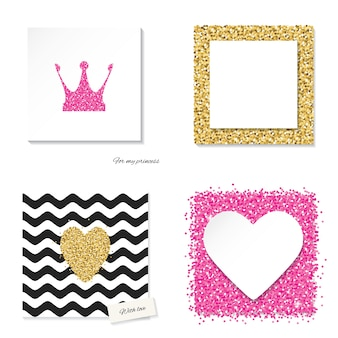 Templates set with glitter elements.