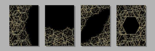 誕生日の結婚式のカードを挨拶するためのゴールドの幾何学模様とゴールドのキラキラa4モックアップで設定されたテンプレート
