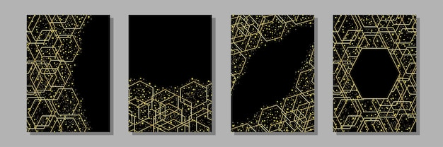 Templates set with gold geometric and gold glitter a4 mock up for greeting birthday wedding cards