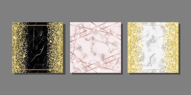 Templates set with marble and glitter for greeting birthday posters and covers with text place