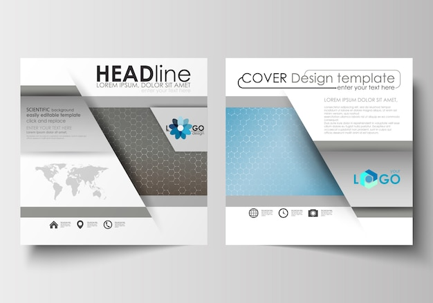 Templates for square brochure, flyer, booklet