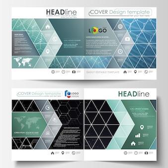 Templates for square design bi fold brochure, magazine, flyer.