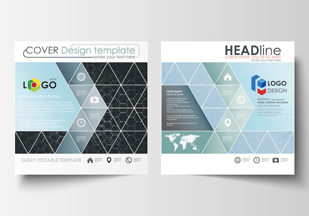 Templates for square design brochure, magazine, flyer, report. leaflet cover, easy editable vector layout.