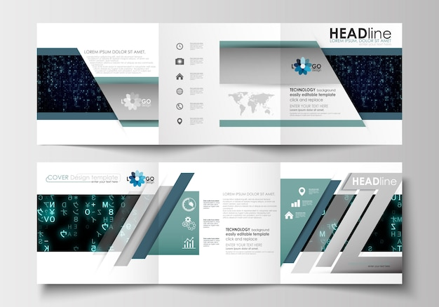 Templates for tri-fold brochures. leaflet cover, abstract layout. virtual reality.