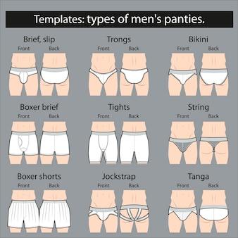 템플릿 : 남성용 팬티 종류. 모형.