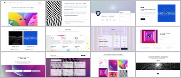 Templates for website design and portfolio with vibrant colorful abstract gradient background