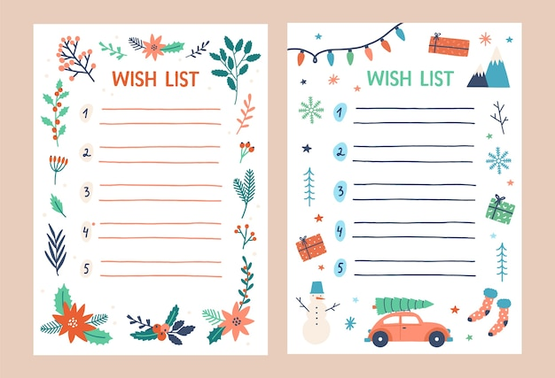 Templates of wish list decorated by traditional seasonal christmas decorations