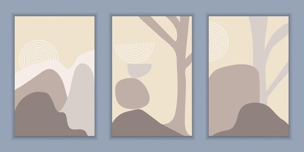 山と岩と木のミニマリストの風景と抽象的な構成のテンプレート