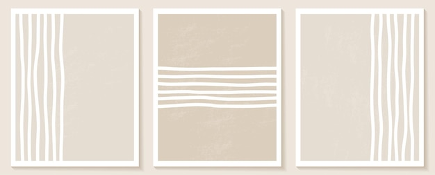 Templates with organic abstract shapes and line in nude colors