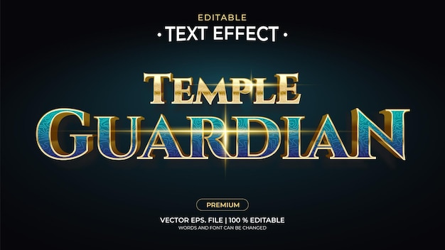 Temple guardian 편집 가능한 텍스트 효과
