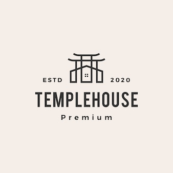 Temple house  vintage logo  icon illustration