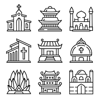 Temple icons set. outline set of temple vector icons isolated
