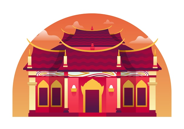 Temple  illustration, a place of culture that usually hindu and buddhism do their prayer in it. this illustration can be use for website, landing page, web, app, and banner.