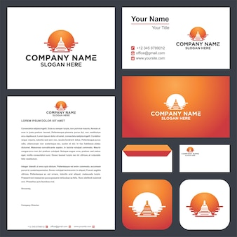 Temple logo and business card premium