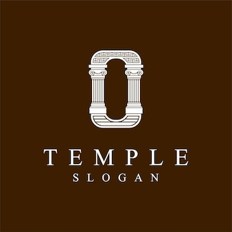 Temple logo with letter o concept