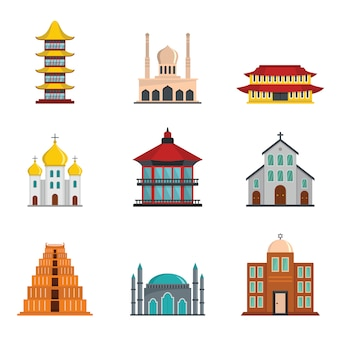 Temple tower castle icons set flat style