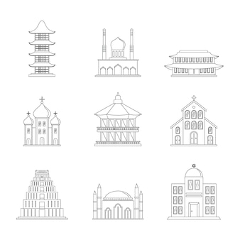 Temple tower castle icons set
