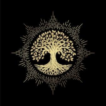 Храмовое дерево жизни или роскошное золотое дерево и корни круглой формы