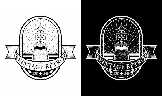 Temple vintage retro badge label emblem logo design