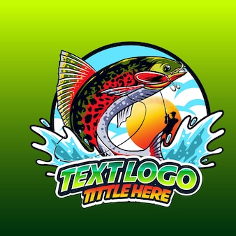 Логотип templeate, рыбалка на волне