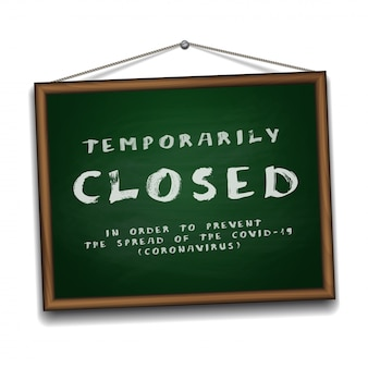 Temporarily closed sign of coronavirus news on green chalkboard in wooden frame.