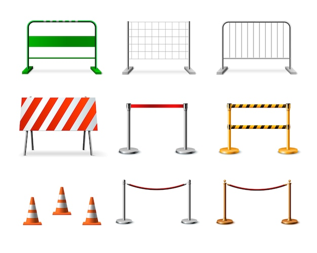 Temporary fencing barrier realistic icon set