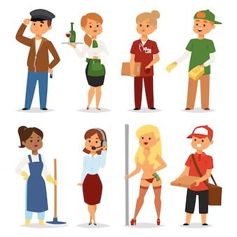 Temporary job professions vector set.