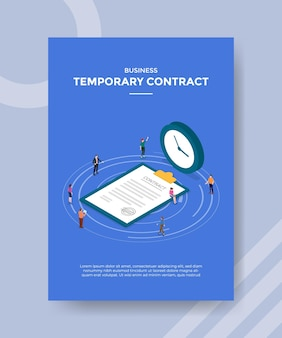 Temprorary contract concept for template banner and flyer with isometric style vector