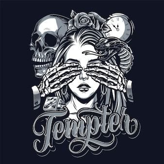 Temptation chicano style tattoo vintage concept