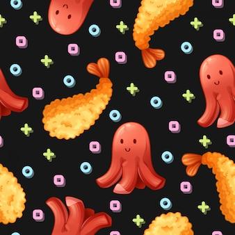 Tempura and sausage seamless pattern