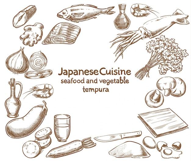 Дизайн рецептов морепродуктов и овощей tempura