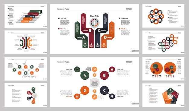 Набор шаблонов слайдов для бизнес-диаграмм