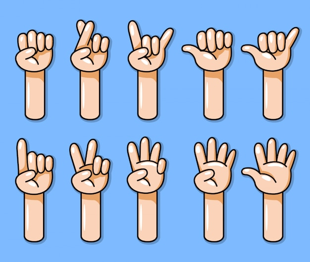 Ten cartoon hand gesture vector illustration set.