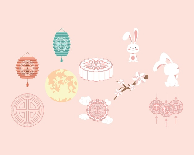 Ten chinese moon festival set icons