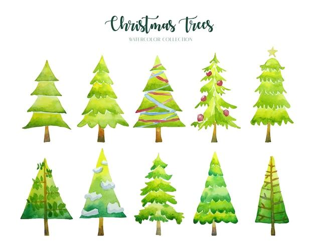 Коллекция акварелей десять рождественских елок.